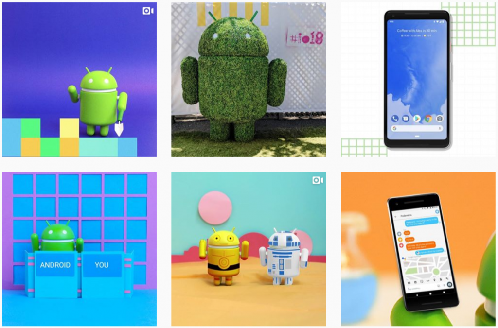 The Instagram gallery of Android with a official mascot