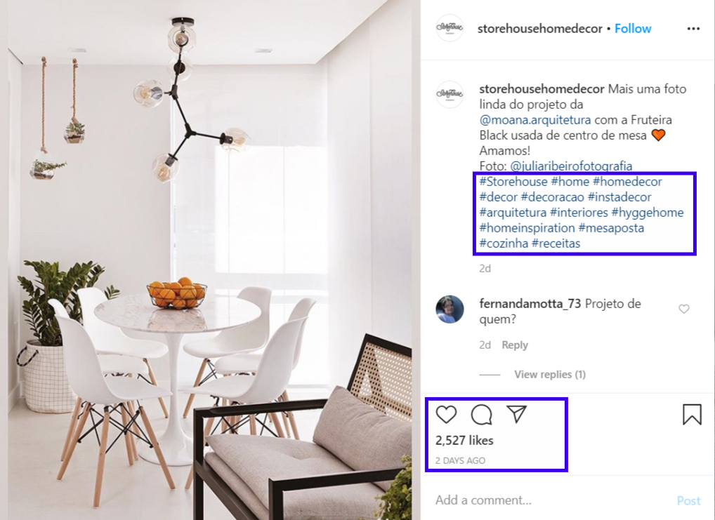 An Instagram post of StoreHouse Home Decor with the relevant hashtags