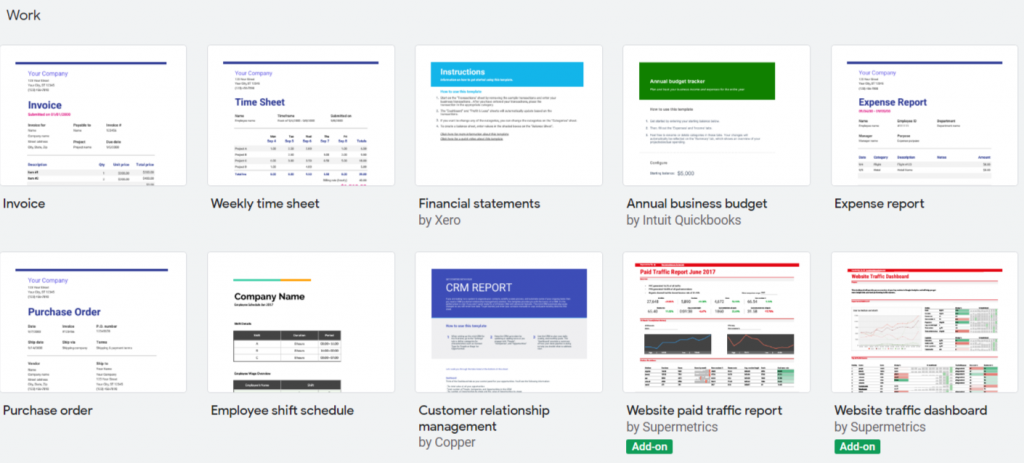 Google Sheets templates for work, invoice and tracking purchase order.