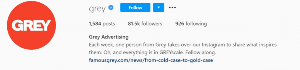 the official Instagram account of Grey Advertising company.