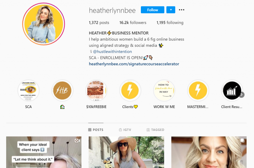 Instagram profile of a business mentor