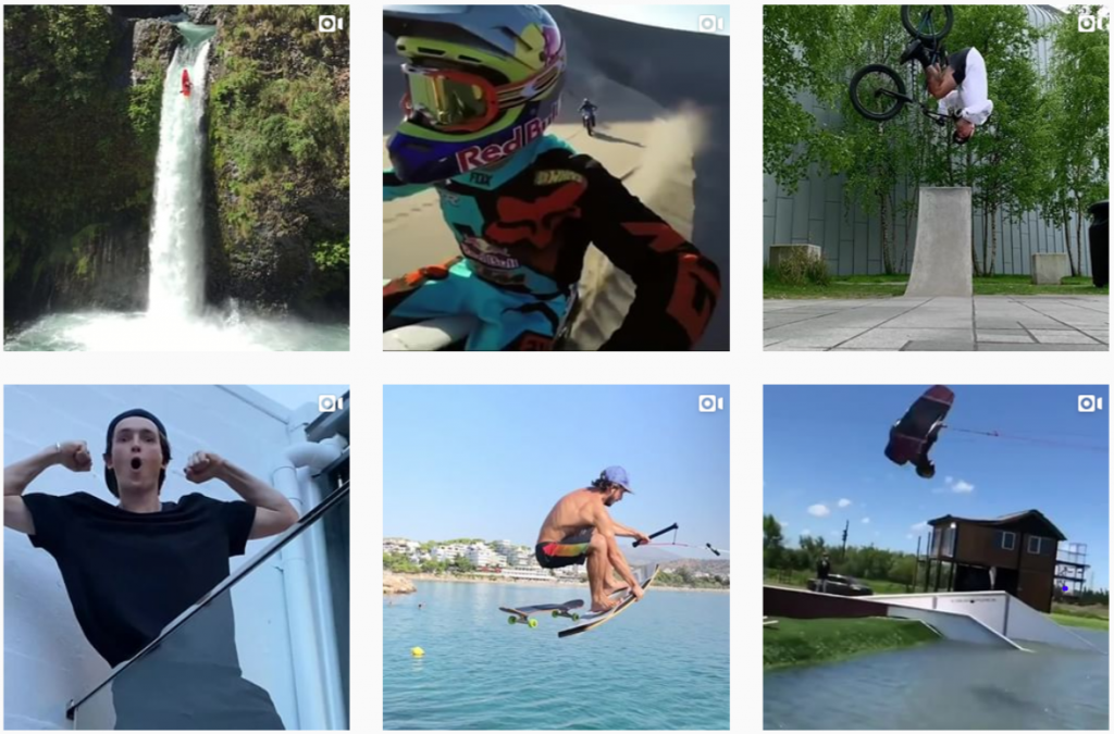 Red Bull's Instagram gallery with a focus on extreme sport