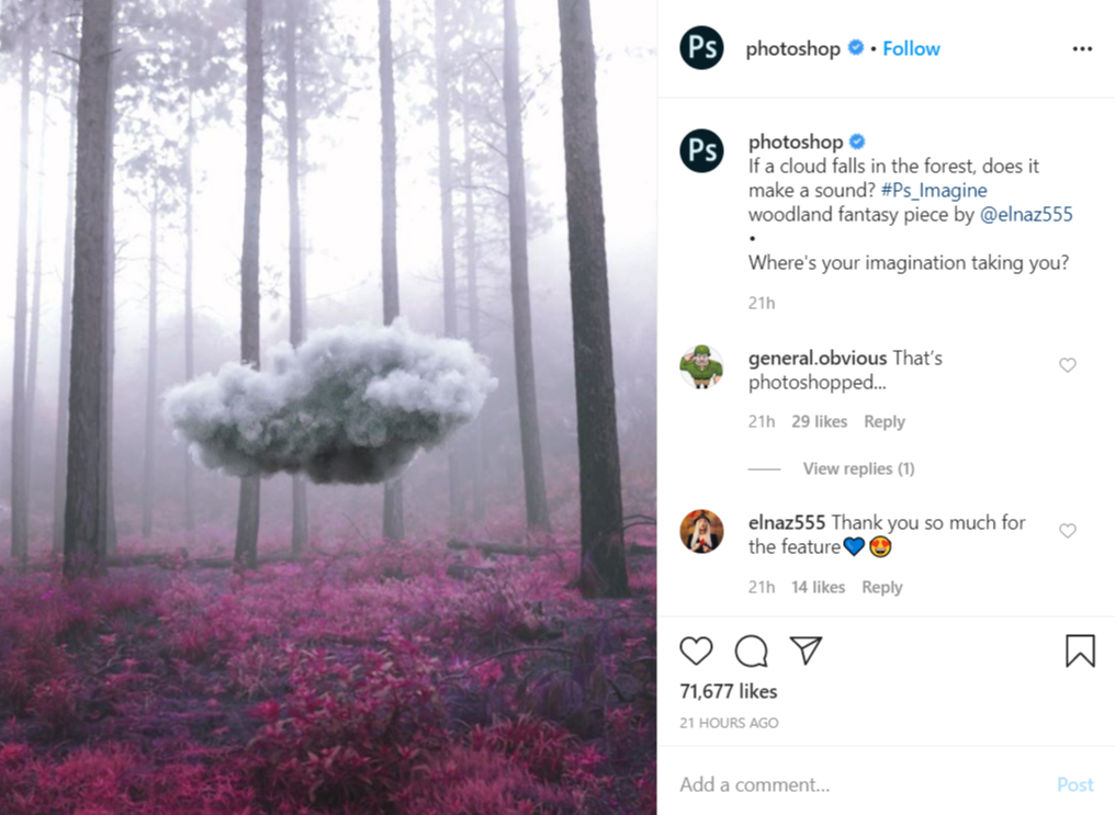 user-generated post on Photoshop's official Instagram account