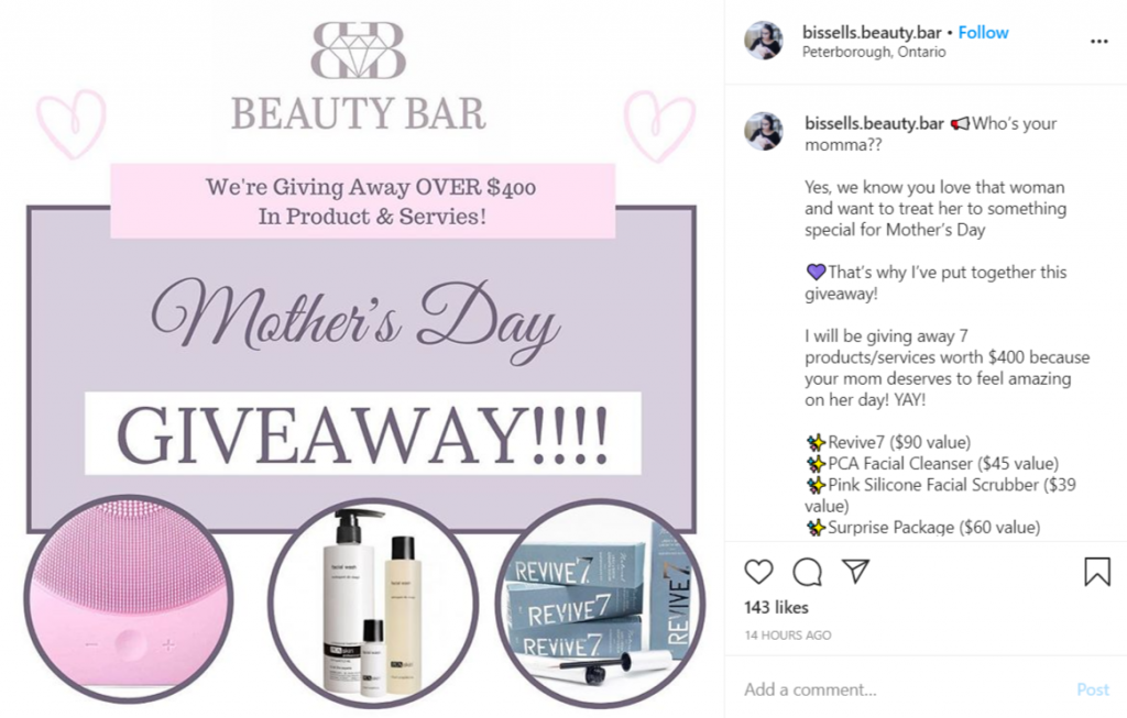 instagram giveaway post for Mother's Day by Beauty Bar