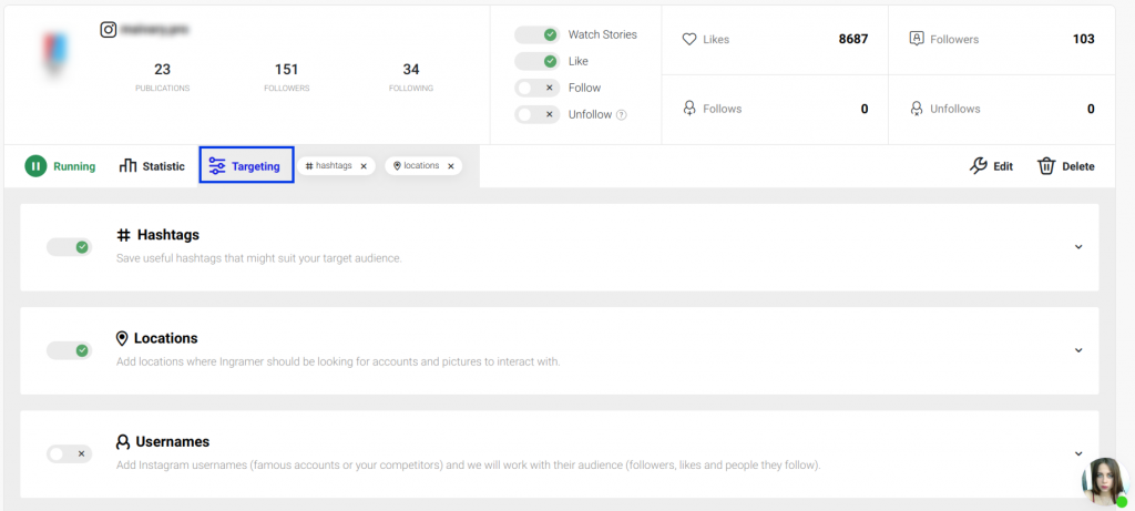 The dashboard of Ingramer, tool for organic growth on Instagram, with targeting by hashtags, locations and usernames.