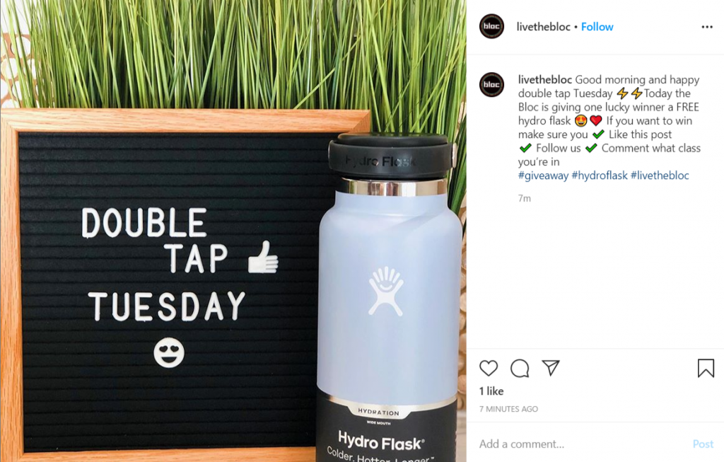 Instagram Giveaway post by Live the Bloc