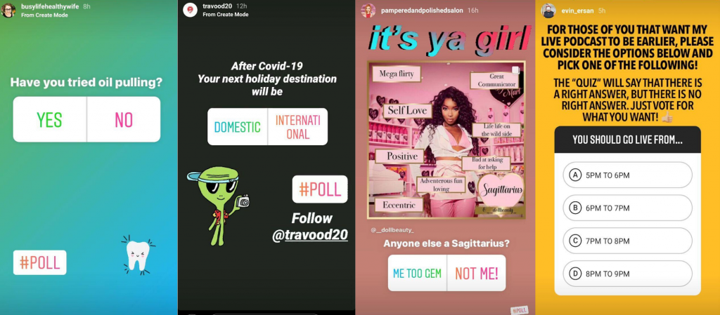 examples of polls on Instagram for getting to know target audience.