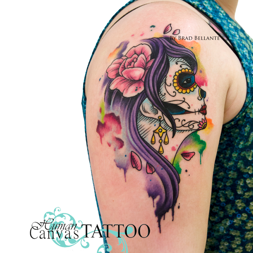 Colorful tattoo on the shoulder