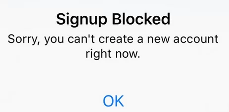 signup blocked