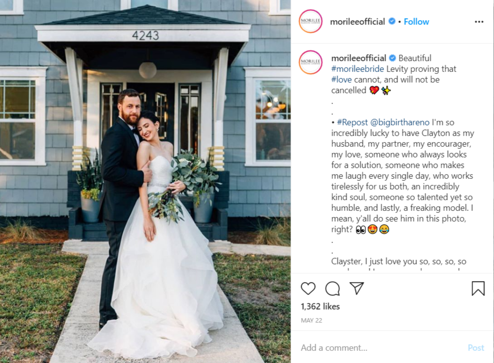 Example of a wedding designer account
