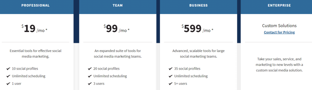 Hootsuite price list
