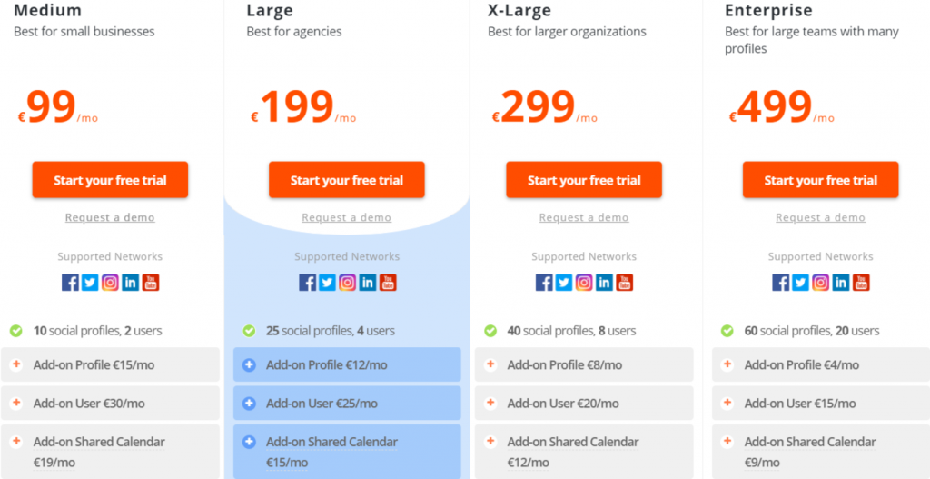 Price list of Agorapulse service
