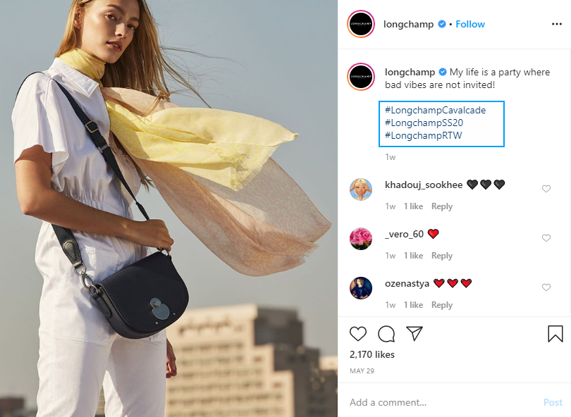 example of using navigation hashtags on Instagram from Longchamp's account 2