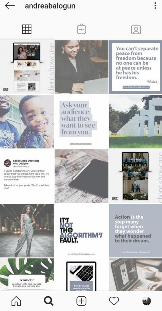 examples of Instagram profiles made in a singly style 3